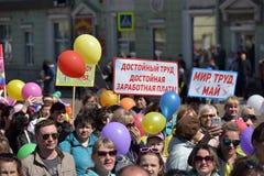 Maifeiertagsdemonstration zu Ehren der Feier des Feiertags Lizenzfreies Stockfoto
