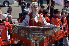 Maifeiertagsdemonstration zu Ehren der Feier des Feiertags Stockbild