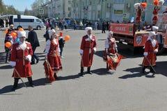 Maifeiertagsdemonstration zu Ehren der Feier des Feiertags Stockfoto