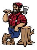Maigre de bûcheron sur le rondin en bois illustration de vecteur