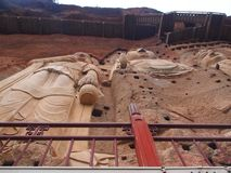 Maiji Shan Stone Mountain with ancient buddhist carving statue. stock photo