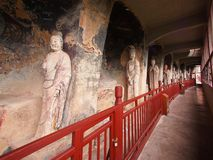 Maiji Shan Stone Mountain with ancient buddhist carving statue. Travel in Tianshui, Gansu, China. In 2013, October 16th Stock Image