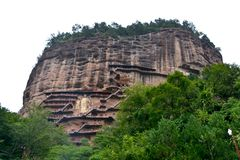 Maijishan grottor nationalpark, Tianshui, Kina royaltyfri bild