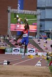 MAIKEL Y 从古巴胜利银的维达在国际田联世界U20冠军的跳远决赛 库存图片