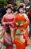 Maiko. Girls dressed traditionally as maiko in Kyoto, Japan Stock Photo