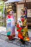 Maiko, Apprentices geisha, in. KYOTO, JAPAN - OCTOBER 12, 2015 : portrait of two Maiko, Apprentices geisha, in Kyoto, Japan Stock Photos