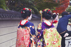 Maiko couple walking in Kyoto, Japan Stock Photos