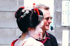 Maiko. Kamishichiken Kyoto, Japan-April 03,2009 Maiko has attent to Baika-sai Festival also Baien Ume Garden Stock Images