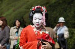 Maiko. Kamishichiken Kyoto, Japan-April 03,2009 Maiko has attent to Baika-sai Festival also Baien Ume Garden Stock Image