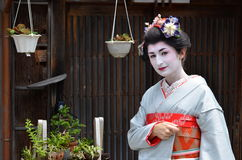 Maiko's portrait, close up, Kyoto, Japan Royalty Free Stock Photo