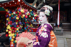 Maiko San in Kyoto. Japanese Geisha in Kyoto Asia Stock Photo