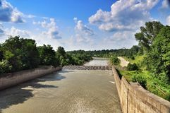 Maikop GES hydroelectric power station dam stock photo