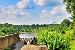 Maikop HPS hydroelectric power station dam. On the river Belaya and Maikop reservoir in Republic Adygea Royalty Free Stock Photography