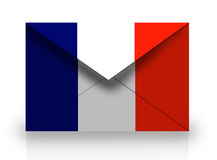 Mail. On white background with France flag texture Stock Images
