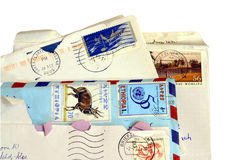 Mail. Letter Mail background with stamps Royalty Free Stock Photography