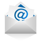 Mail. Illustration of the letter at sign blue Royalty Free Stock Images