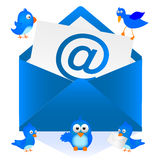 Mail. Illustration of a letter of Blue Bird Stock Photos