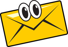 Mail. Illustration of funny cartoon mail character smile Stock Photos