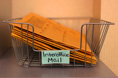 Daily mail. Closeup of an office mail basket Stock Images