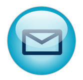 Mail. Glassy Blue Mail logo icon button Stock Photography