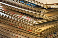 Mail. A bulk of old  letters and junk mail Royalty Free Stock Photo