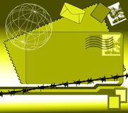 Mail. Abstract colored illustration with envelopes, stamps and barbed wire Stock Photo