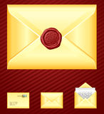 Mail. Old-fashioned yellow envelopes with seal Stock Photo