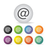 Mail address icon set Royalty Free Stock Images