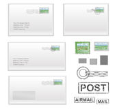 Mail-adres. Realistic envelopes with stamps and seals Stock Images