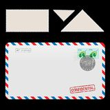 Mail Air Envelope Icon with set Postal Stamp. Isolated on black background. Illustration stock illustration