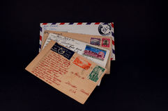 Mail from around the world. Vintage mail from around the world stock photography