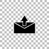 Mail arrow icon flat. Mail arrow. Black flat icon on a transparent background. Pictogram for your project stock illustration