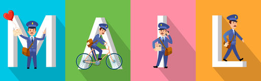 MAIL Banner with Letters and Postman Character Set Royalty Free Stock Images