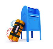 Mail bomb. Letter bomb in the mail on a white background Royalty Free Stock Image