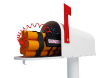 Mail bomb. On a white background Stock Image