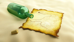 Mail bottle burnt map Royalty Free Stock Photos