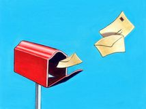 Mail box. Letters flying to a mail box. Hand painted illustration Royalty Free Stock Image