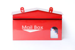 Mail box. Front red mail box, isolate Stock Photo
