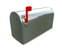 Mail Box. A 3D chrome mail box  placed on a white background Stock Photos