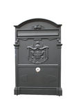 Mail box. Old black steel mail box isolated in white background Stock Images