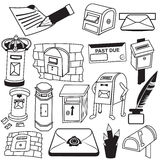 Mail box black icons Royalty Free Stock Photography