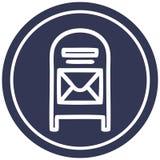 mail box circular icon stock illustration