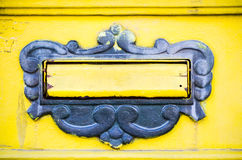 Mail box. Doors of old yellow mail box. Royalty Free Stock Photo