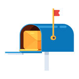 Mail box with an envelope. Vector illustration in cartoon style isolated on white background vector illustration