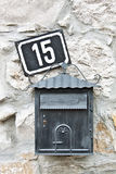 Mail box and house number Royalty Free Stock Photography