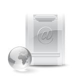 Mail box icon. Silver mail box and crystal globe isolated on white background Royalty Free Stock Photo