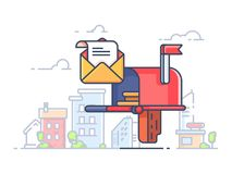 Mail box for letters and correspondence. Box for envelopes in street. Vector illustration Stock Photo