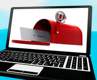 Mail Box On Notebook Shows Email Inbox Stock Photography