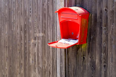 Mail box. Open post box on the fence Royalty Free Stock Photography