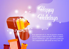 Mail Box With Present Happy New Year Merry Christmas Greeting Card Banner Royalty Free Stock Photography